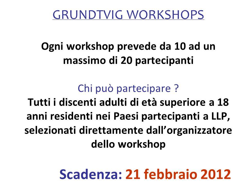 GRUNDTVIG WORKSHOPS Ogni workshop prevede da 10 ad un massimo di 20 partecipanti Chi può partecipare ? Tutti i discenti adulti di età superiore a 18 a
