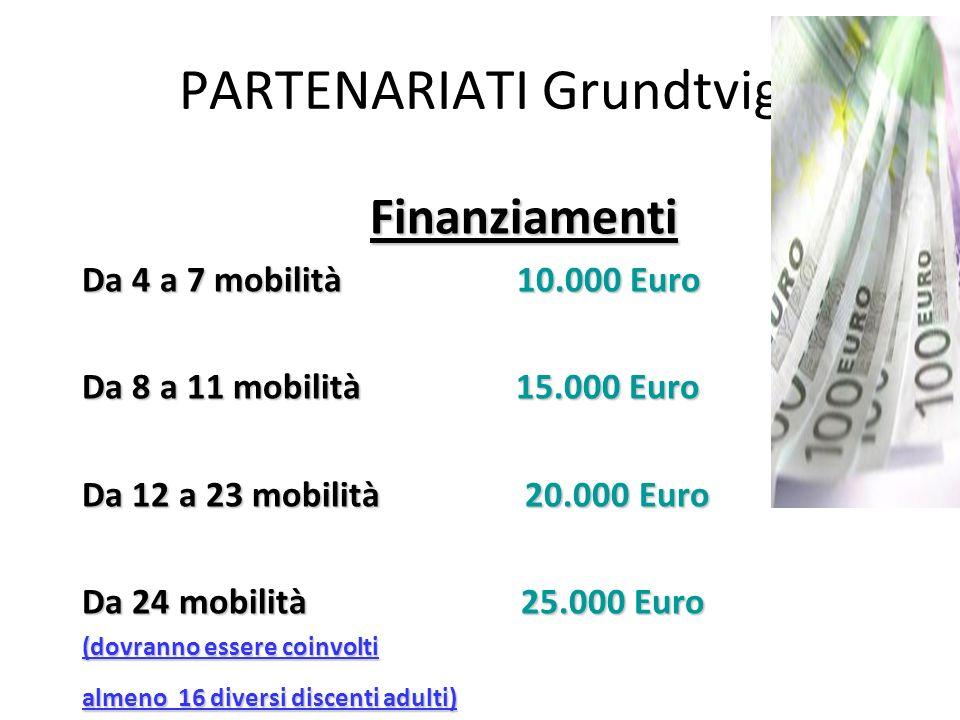 PARTENARIATI Grundtvig Finanziamenti Da 4 a 7 mobilità 10.000 Euro Da 8 a 11 mobilità 15.000 Euro Da 12 a 23 mobilità 20.000 Euro Da 24 mobilità 25.00