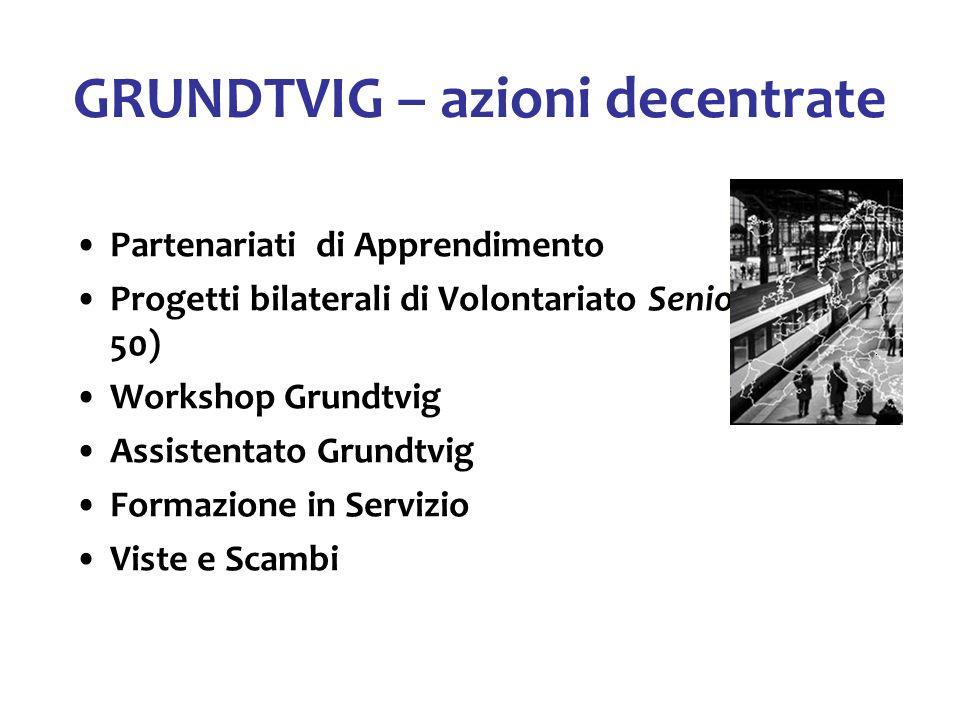 GRUNDTVIG – azioni decentrate Partenariati di Apprendimento Progetti bilaterali di Volontariato Senior (over 50) Workshop Grundtvig Assistentato Grund
