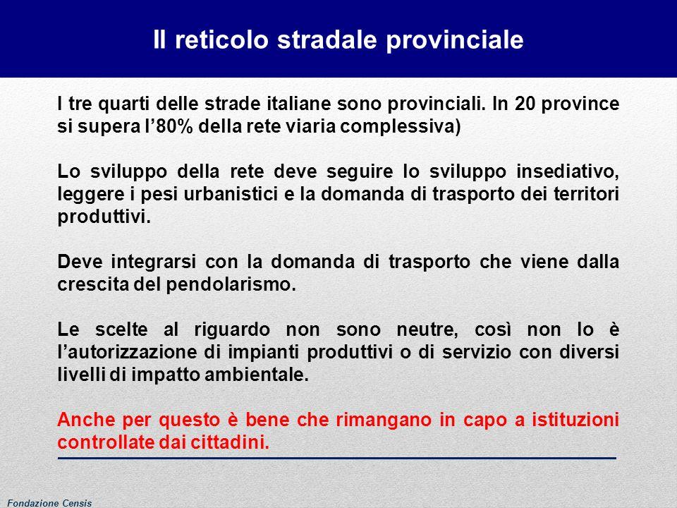 Il reticolo stradale provinciale Fondazione Censis I tre quarti delle strade italiane sono provinciali. In 20 province si supera l80% della rete viari
