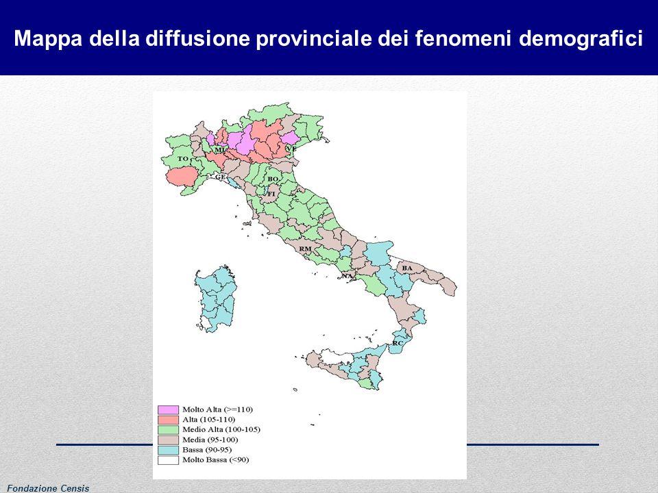 Mappa della diffusione provinciale dei fenomeni demografici Fondazione Censis