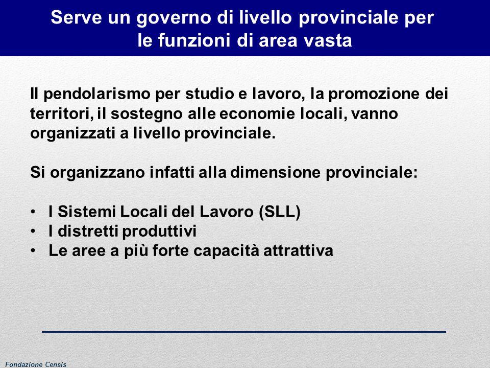 Serve un governo di livello provinciale per le funzioni di area vasta Il pendolarismo per studio e lavoro, la promozione dei territori, il sostegno al