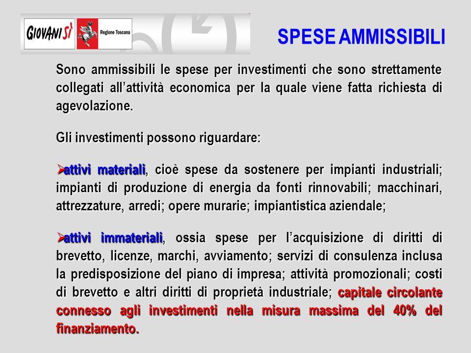 Sono ammissibili le spese per investimenti che sono strettamente collegati allattività economica per la quale viene fatta richiesta di agevolazione.
