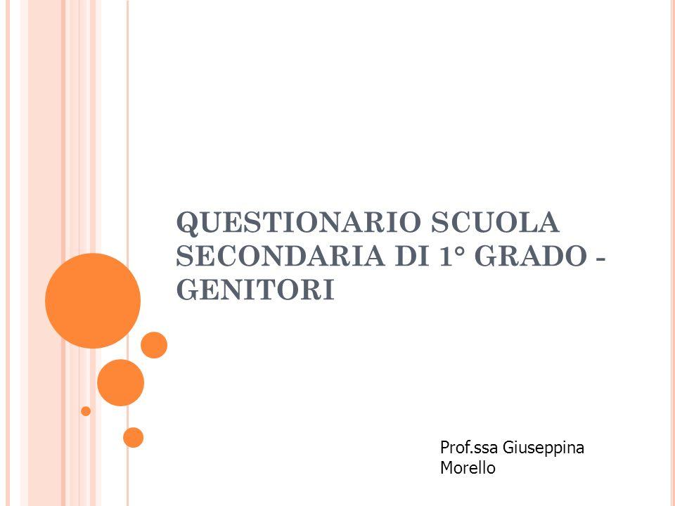 QUESTIONARIO SCUOLA SECONDARIA DI 1° GRADO - GENITORI Prof.ssa Giuseppina Morello