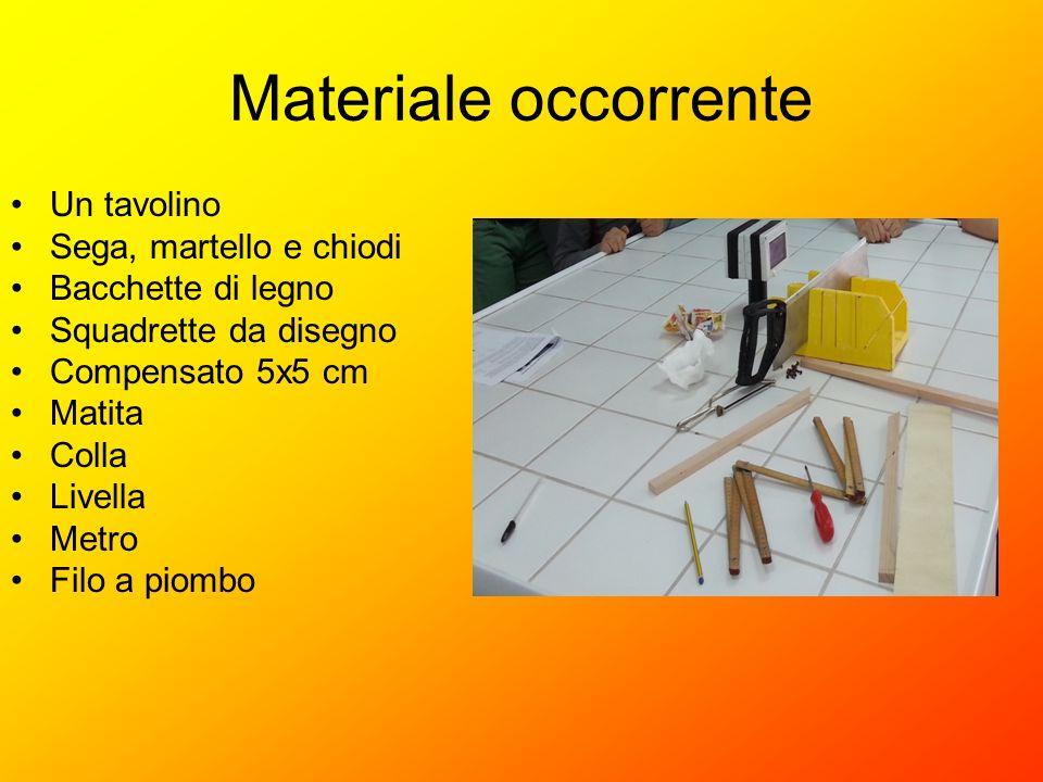 Materiale occorrente Un tavolino Sega, martello e chiodi Bacchette di legno Squadrette da disegno Compensato 5x5 cm Matita Colla Livella Metro Filo a