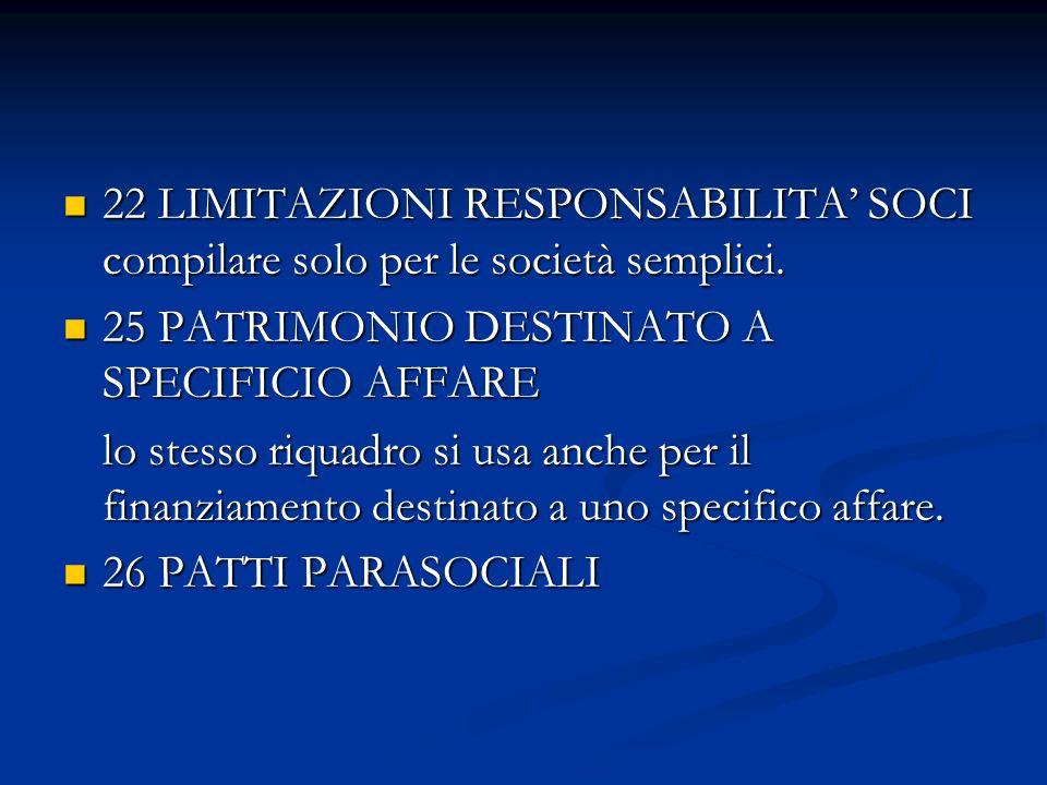 22 LIMITAZIONI RESPONSABILITA SOCI compilare solo per le società semplici.