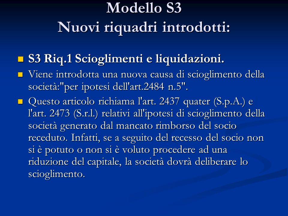 Modello S3 Nuovi riquadri introdotti: S3 Riq.1 Scioglimenti e liquidazioni.