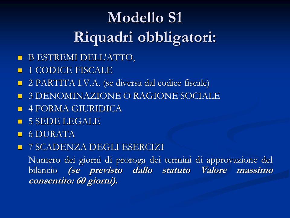 Modello S1 Riquadri obbligatori: B ESTREMI DELL ATTO, B ESTREMI DELL ATTO, 1 CODICE FISCALE 1 CODICE FISCALE 2 PARTITA I.V.A.
