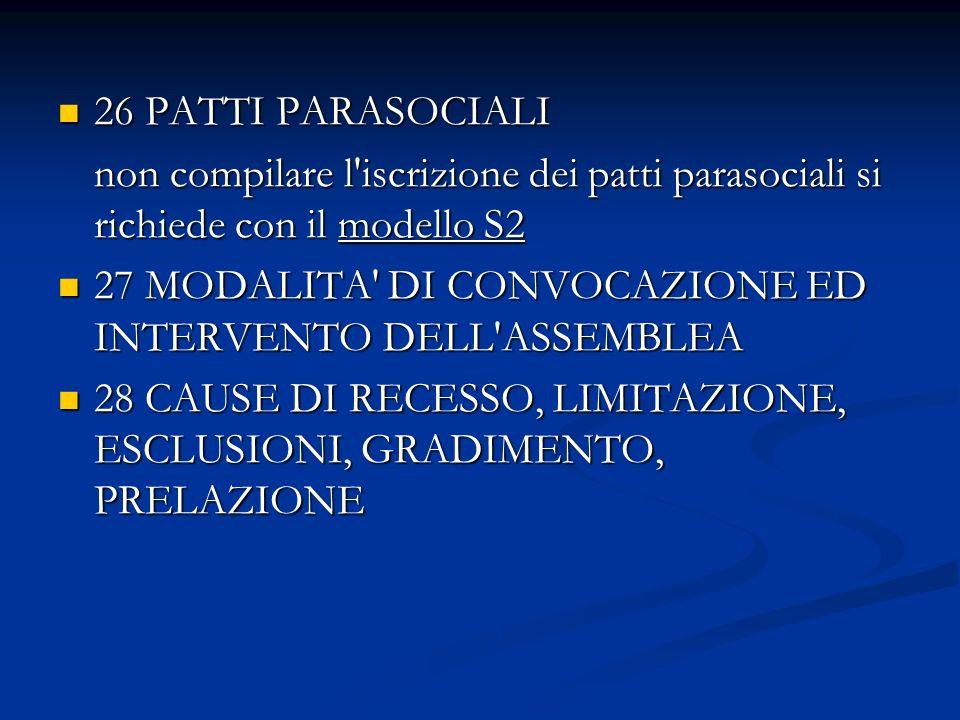 26 PATTI PARASOCIALI 26 PATTI PARASOCIALI non compilare l iscrizione dei patti parasociali si richiede con il modello S2 27 MODALITA DI CONVOCAZIONE ED INTERVENTO DELL ASSEMBLEA 27 MODALITA DI CONVOCAZIONE ED INTERVENTO DELL ASSEMBLEA 28 CAUSE DI RECESSO, LIMITAZIONE, ESCLUSIONI, GRADIMENTO, PRELAZIONE 28 CAUSE DI RECESSO, LIMITAZIONE, ESCLUSIONI, GRADIMENTO, PRELAZIONE