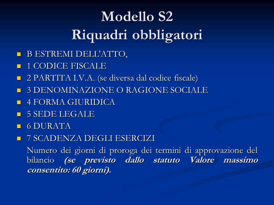 Modello S2 Riquadri obbligatori B ESTREMI DELL ATTO, B ESTREMI DELL ATTO, 1 CODICE FISCALE 1 CODICE FISCALE 2 PARTITA I.V.A.