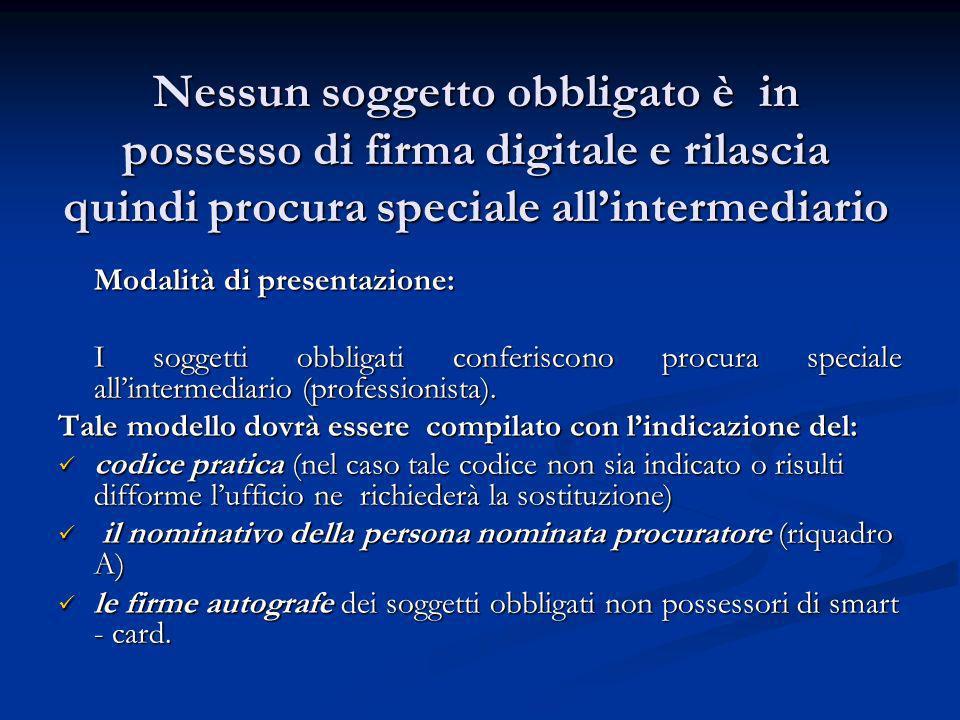 Nessun soggetto obbligato è in possesso di firma digitale e rilascia quindi procura speciale allintermediario Modalità di presentazione: I soggetti ob