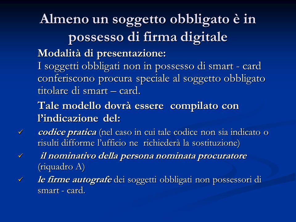 Almeno un soggetto obbligato è in possesso di firma digitale Modalità di presentazione: I soggetti obbligati non in possesso di smart - card conferisc