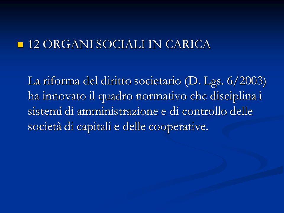 12 ORGANI SOCIALI IN CARICA 12 ORGANI SOCIALI IN CARICA La riforma del diritto societario (D. Lgs. 6/2003) ha innovato il quadro normativo che discipl