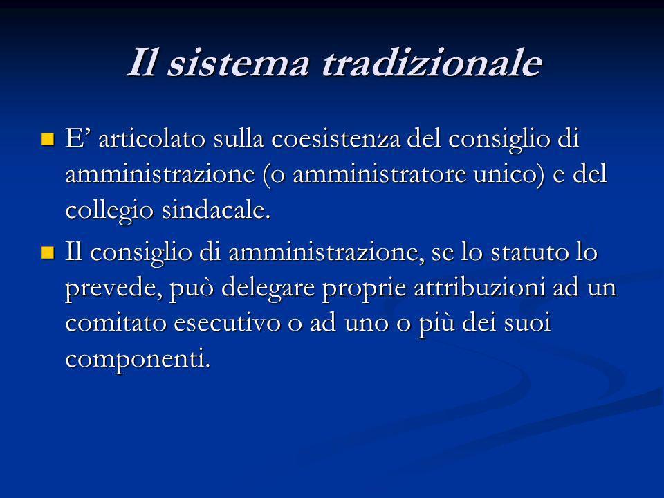 Il sistema tradizionale E articolato sulla coesistenza del consiglio di amministrazione (o amministratore unico) e del collegio sindacale. E articolat
