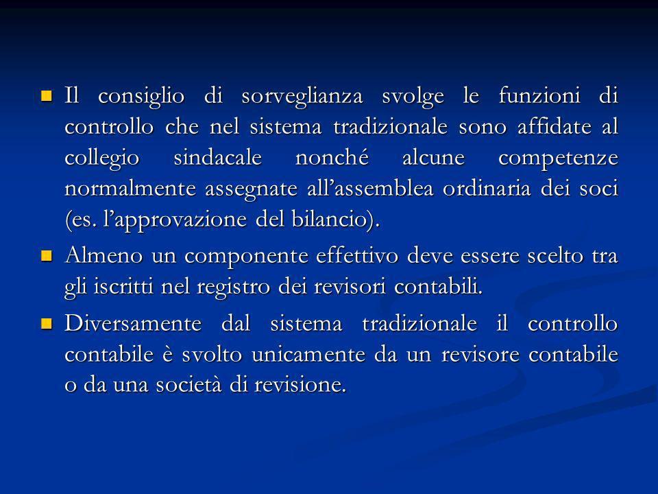 Il consiglio di sorveglianza svolge le funzioni di controllo che nel sistema tradizionale sono affidate al collegio sindacale nonché alcune competenze