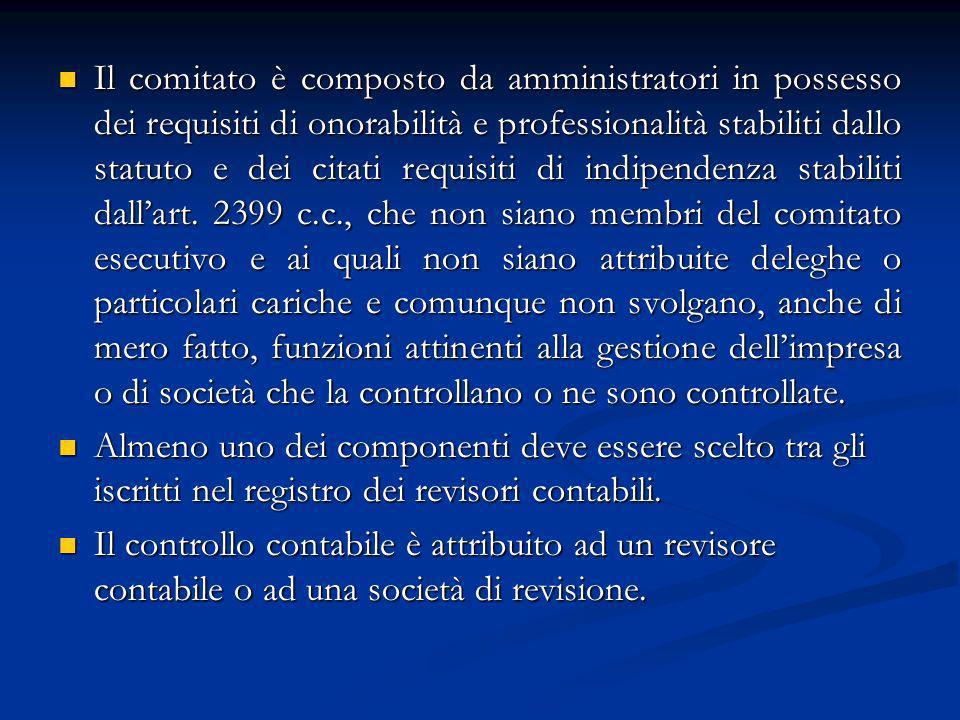 Il comitato è composto da amministratori in possesso dei requisiti di onorabilità e professionalità stabiliti dallo statuto e dei citati requisiti di