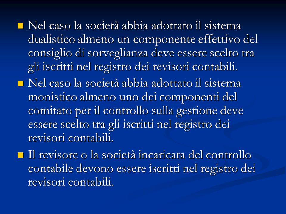 Nel caso la società abbia adottato il sistema dualistico almeno un componente effettivo del consiglio di sorveglianza deve essere scelto tra gli iscritti nel registro dei revisori contabili.