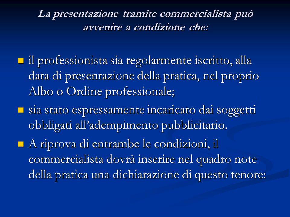 La presentazione tramite commercialista può avvenire a condizione che: il professionista sia regolarmente iscritto, alla data di presentazione della p