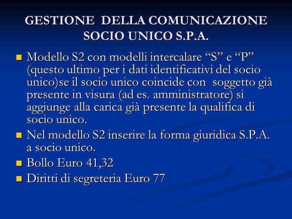 GESTIONE DELLA COMUNICAZIONE SOCIO UNICO S.P.A. Modello S2 con modelli intercalare S e P (questo ultimo per i dati identificativi del socio unico)se i
