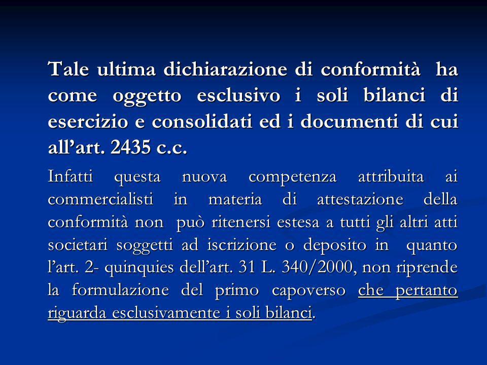 Tale ultima dichiarazione di conformità ha come oggetto esclusivo i soli bilanci di esercizio e consolidati ed i documenti di cui allart. 2435 c.c. In