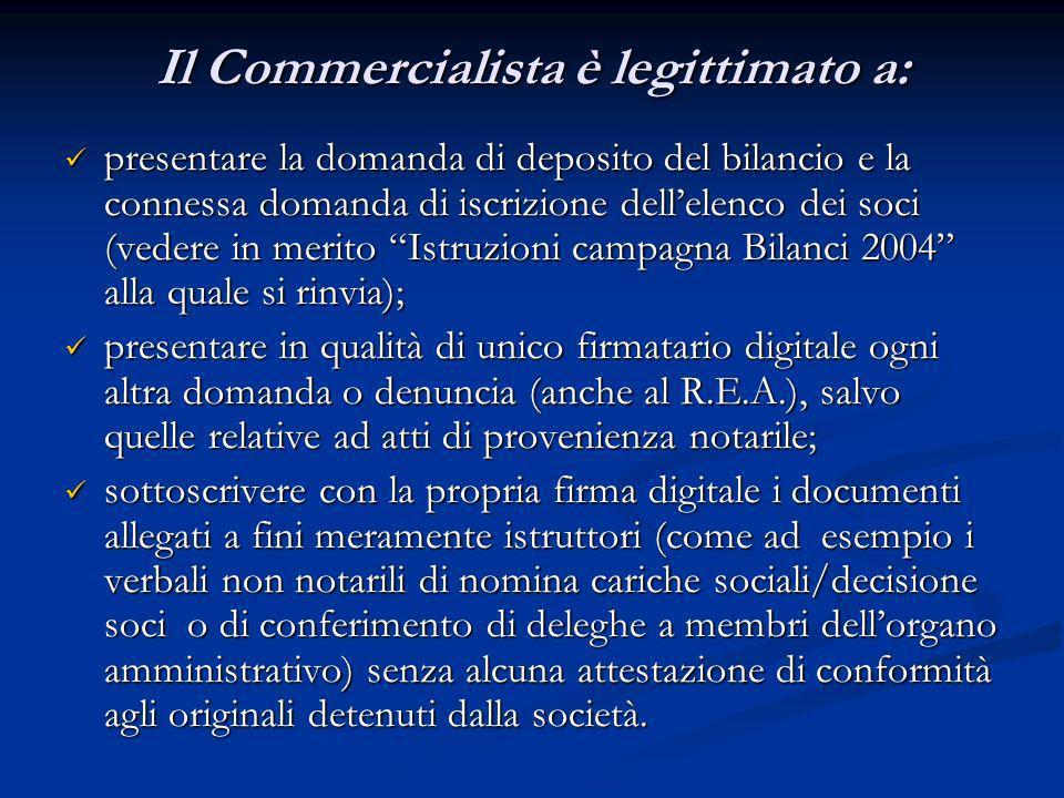 Il Commercialista è legittimato a: presentare la domanda di deposito del bilancio e la connessa domanda di iscrizione dellelenco dei soci (vedere in m