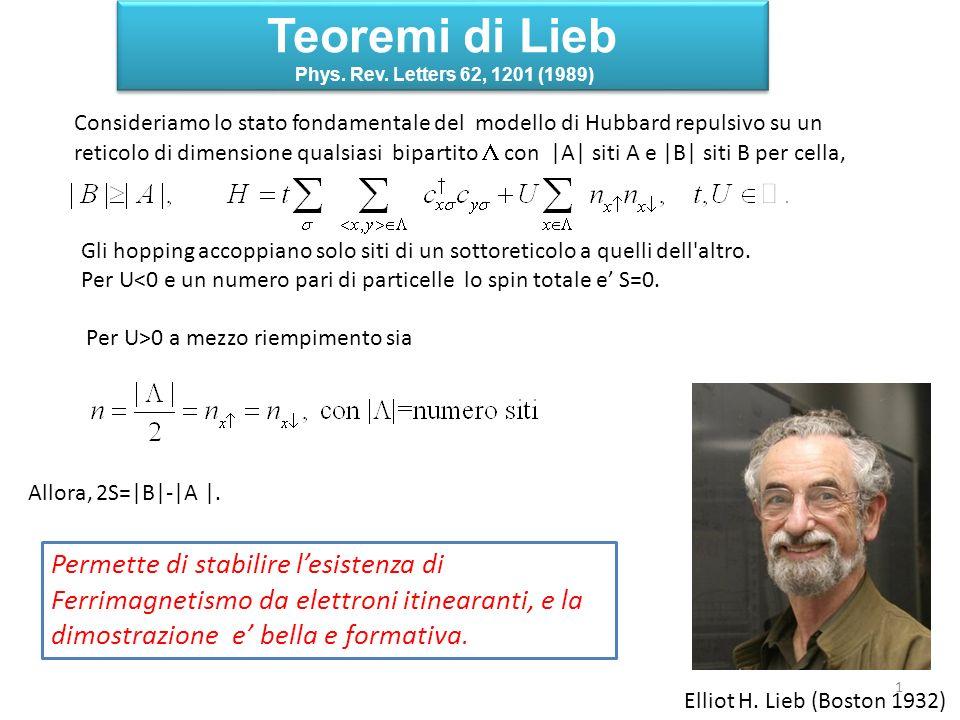 Teoremi di Lieb Phys. Rev. Letters 62, 1201 (1989) Teoremi di Lieb Phys. Rev. Letters 62, 1201 (1989) Consideriamo lo stato fondamentale del modello d