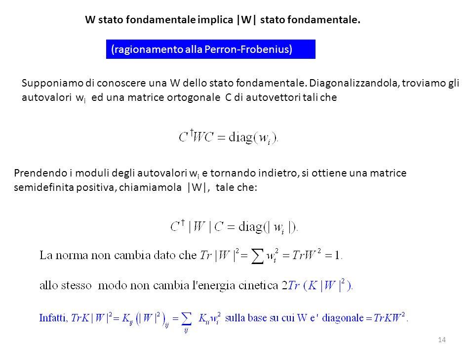 14 Supponiamo di conoscere una W dello stato fondamentale. Diagonalizzandola, troviamo gli autovalori w i ed una matrice ortogonale C di autovettori t