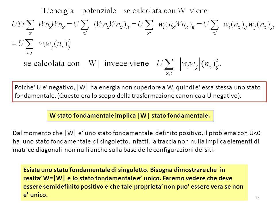 15 Dal momento che |W| e uno stato fondamentale definito positivo, il problema con U<0 ha uno stato fondamentale di singoletto. Infatti, la traccia no