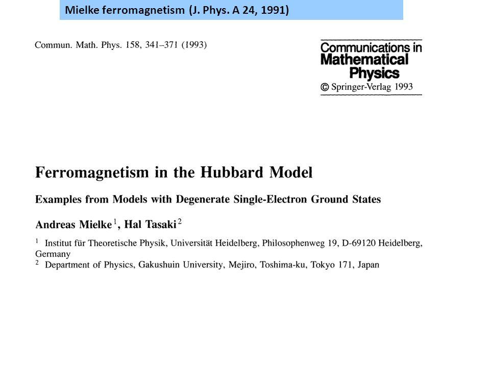 Mielke ferromagnetism (J. Phys. A 24, 1991)