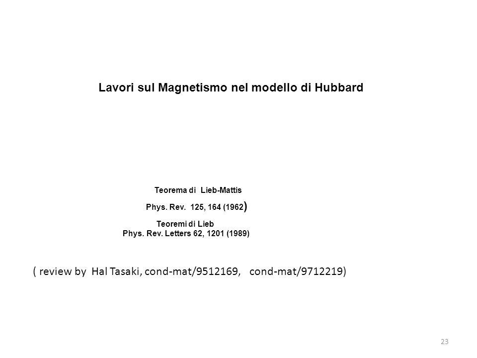 23 ( review by Hal Tasaki, cond-mat/9512169, cond-mat/9712219) Lavori sul Magnetismo nel modello di Hubbard Teorema di Lieb-Mattis Phys. Rev. 125, 164