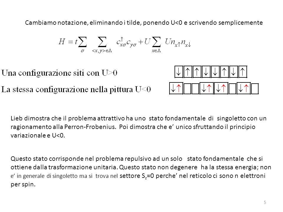 5 Lieb dimostra che il problema attrattivo ha uno stato fondamentale di singoletto con un ragionamento alla Perron-Frobenius. Poi dimostra che e unico