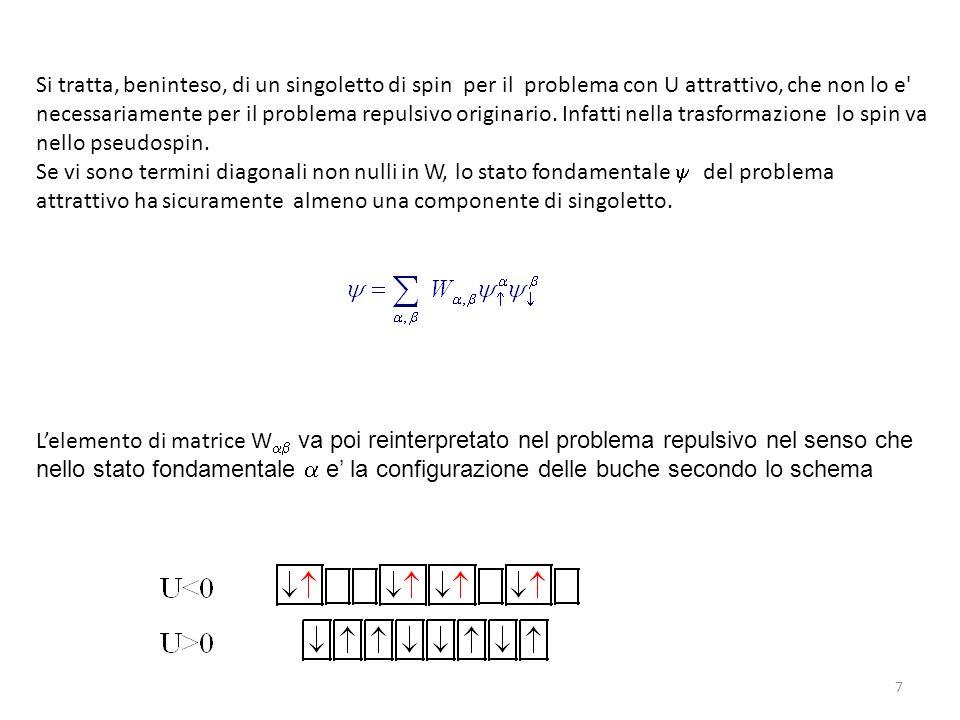 7 Lelemento di matrice W va poi reinterpretato nel problema repulsivo nel senso che nello stato fondamentale e la configurazione delle buche secondo l