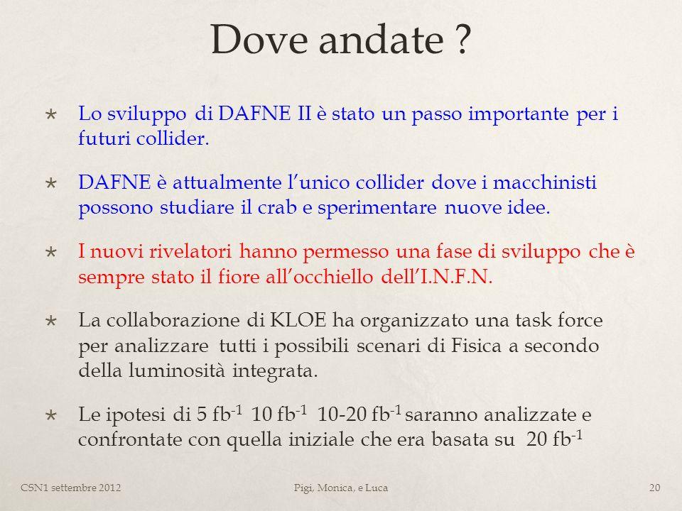 Dove andate . Lo sviluppo di DAFNE II è stato un passo importante per i futuri collider.