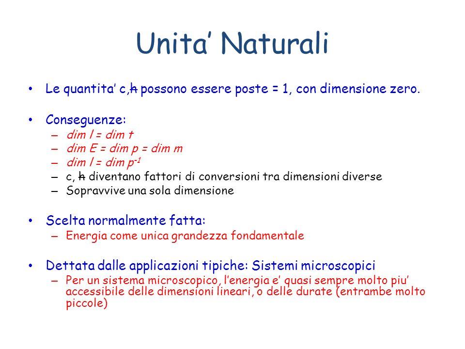 Unita Naturali Le quantita c,h possono essere poste = 1, con dimensione zero. Conseguenze: – dim l = dim t – dim E = dim p = dim m – dim l = dim p -1