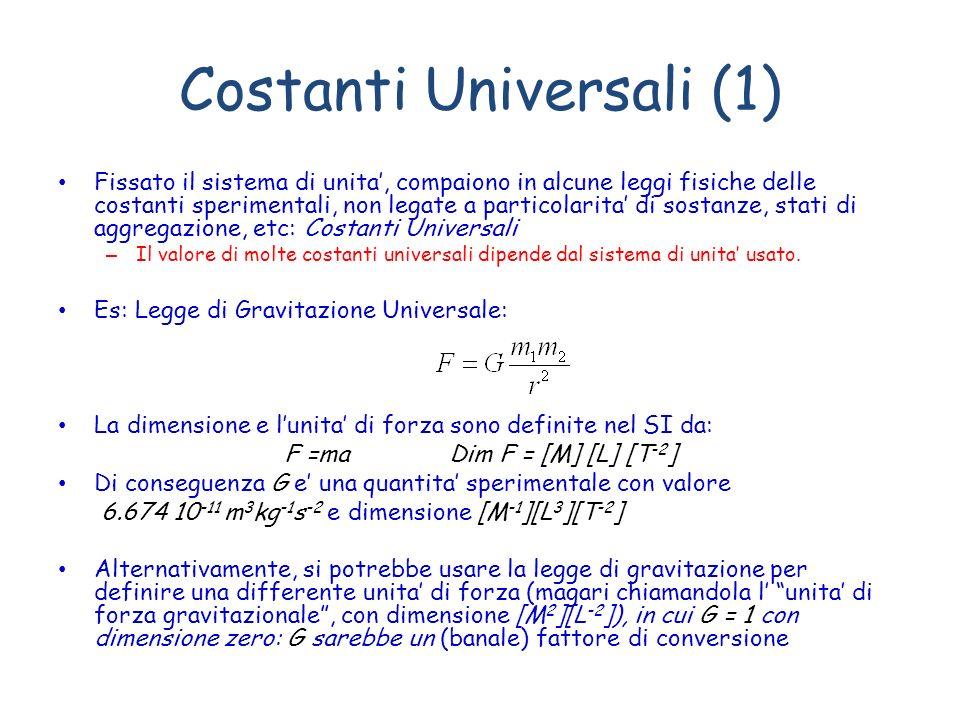 Costanti Universali (1) Fissato il sistema di unita, compaiono in alcune leggi fisiche delle costanti sperimentali, non legate a particolarita di sost