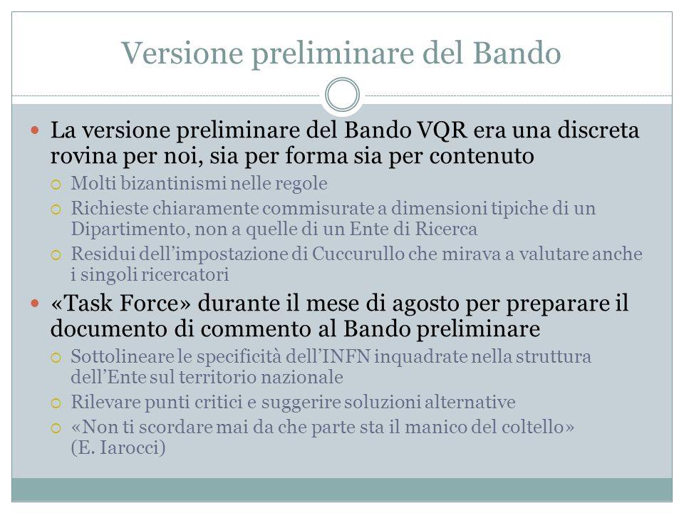 Versione preliminare del Bando La versione preliminare del Bando VQR era una discreta rovina per noi, sia per forma sia per contenuto Molti bizantinis