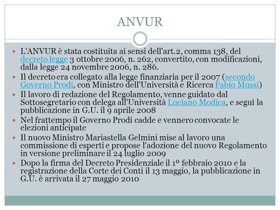 ANVUR L'ANVUR è stata costituita ai sensi dell'art.2, comma 138, del decreto legge 3 ottobre 2006, n. 262, convertito, con modificazioni, dalla legge