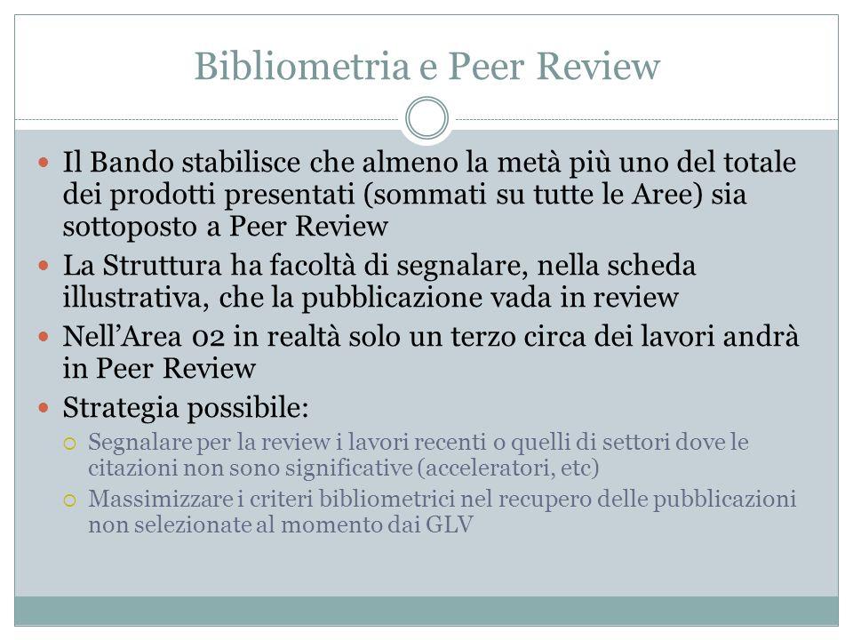 Bibliometria e Peer Review Il Bando stabilisce che almeno la metà più uno del totale dei prodotti presentati (sommati su tutte le Aree) sia sottoposto a Peer Review La Struttura ha facoltà di segnalare, nella scheda illustrativa, che la pubblicazione vada in review NellArea 02 in realtà solo un terzo circa dei lavori andrà in Peer Review Strategia possibile: Segnalare per la review i lavori recenti o quelli di settori dove le citazioni non sono significative (acceleratori, etc) Massimizzare i criteri bibliometrici nel recupero delle pubblicazioni non selezionate al momento dai GLV