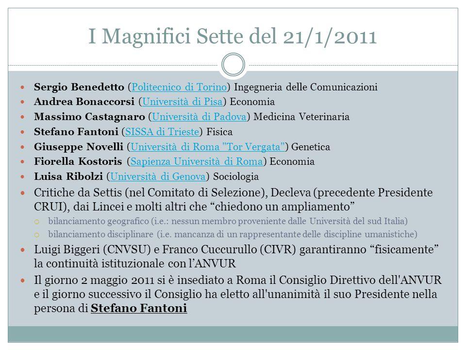 I Magnifici Sette del 21/1/2011 Sergio Benedetto (Politecnico di Torino) Ingegneria delle ComunicazioniPolitecnico di Torino Andrea Bonaccorsi (Univer