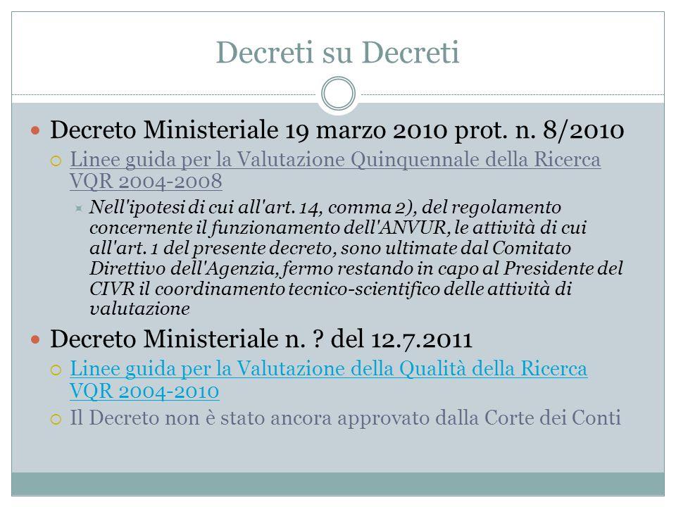 Decreti su Decreti Decreto Ministeriale 19 marzo 2010 prot. n. 8/2010 Linee guida per la Valutazione Quinquennale della Ricerca VQR 2004-2008 Nell'ipo