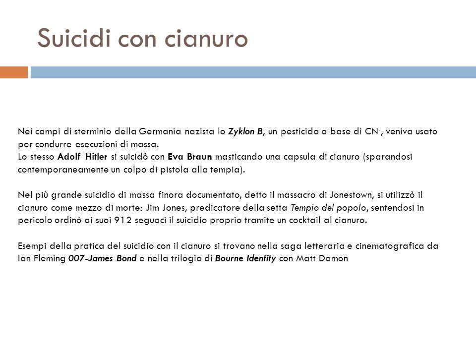 Suicidi con cianuro Nei campi di sterminio della Germania nazista lo Zyklon B, un pesticida a base di CN -, veniva usato per condurre esecuzioni di ma