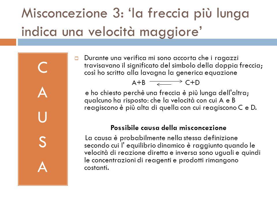 Misconcezione 3: la freccia più lunga indica una velocità maggiore CAUSACAUSA Durante una verifica mi sono accorta che i ragazzi travisavano il signif