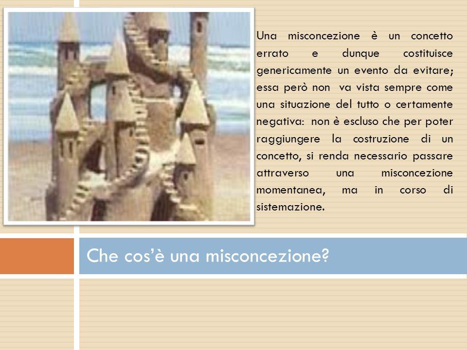 Che cosè una misconcezione? Una misconcezione è un concetto errato e dunque costituisce genericamente un evento da evitare; essa però non va vista sem
