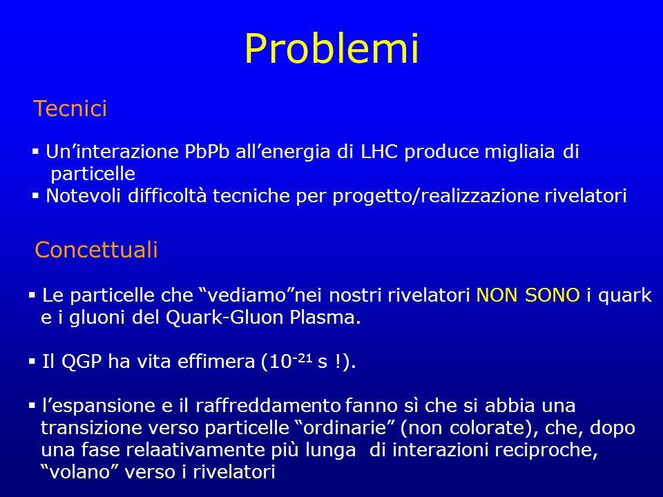 Problemi Uninterazione PbPb allenergia di LHC produce migliaia di particelle Notevoli difficoltà tecniche per progetto/realizzazione rivelatori Le particelle che vediamonei nostri rivelatori NON SONO i quark e i gluoni del Quark-Gluon Plasma.
