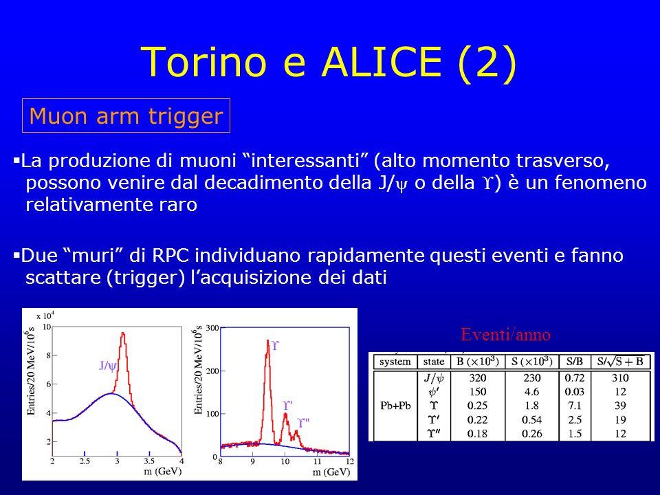Torino e ALICE (2) Muon arm trigger La produzione di muoni interessanti (alto momento trasverso, possono venire dal decadimento della J/ o della ) è un fenomeno relativamente raro Due muri di RPC individuano rapidamente questi eventi e fanno scattare (trigger) lacquisizione dei dati Eventi/anno