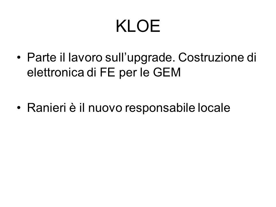 KLOE Parte il lavoro sullupgrade. Costruzione di elettronica di FE per le GEM Ranieri è il nuovo responsabile locale