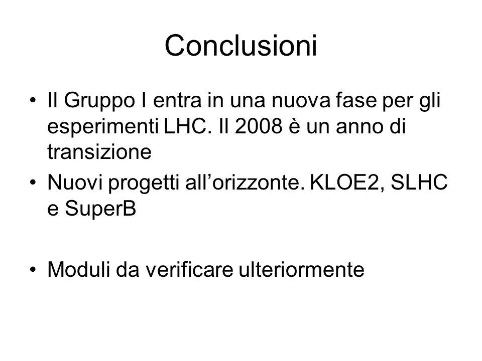 Conclusioni Il Gruppo I entra in una nuova fase per gli esperimenti LHC. Il 2008 è un anno di transizione Nuovi progetti allorizzonte. KLOE2, SLHC e S