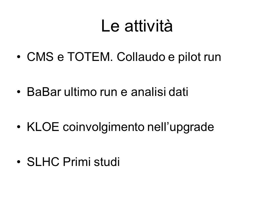 Le attività CMS e TOTEM. Collaudo e pilot run BaBar ultimo run e analisi dati KLOE coinvolgimento nellupgrade SLHC Primi studi