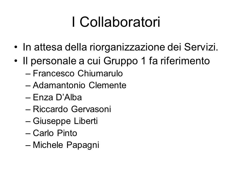 I Collaboratori In attesa della riorganizzazione dei Servizi. Il personale a cui Gruppo 1 fa riferimento –Francesco Chiumarulo –Adamantonio Clemente –