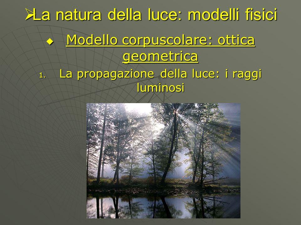 La natura della luce: modelli fisici La natura della luce: modelli fisici Modello corpuscolare: ottica geometrica Modello corpuscolare: ottica geometr